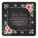 Roses & Chalkboard Garden Tea Party Baby Shower Invitations