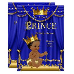 Royal Blue Crown Prince Baby Shower Gold Ethnic