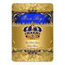 Royal Blue Damask Gold Crown Baby Shower Boy Bs5 Invitations