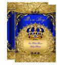 Royal Blue Damask Gold Crown Baby Shower Boy Bs6 Invitation