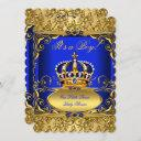 Royal Blue Damask Gold Crown Baby Shower Boy Rb3 Invitation
