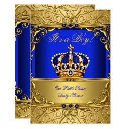 Royal Blue Damask Gold Crown  Boy SMALL