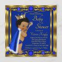 Royal Blue Gold Afro Prince Baby Shower Invitation