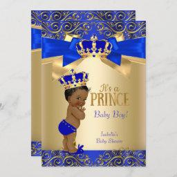 Royal Blue Gold Damask Prince Baby Shower Ethnic Invitation