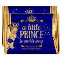Royal Blue Gold Drapes Prince Baby Shower Large Invitation