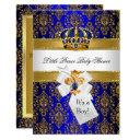 Royal Blue Gold Little Prince Crown Baby Shower Invitation