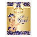 Royal Blue & Gold Prince Baby Shower Crown Invitation