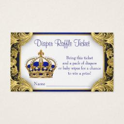 Royal Blue Gold Prince Diaper Raffle Ticket