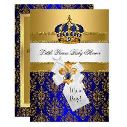 Royal Blue Little Prince Crown Baby Shower Invite