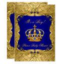 Royal Navy Blue Gold Crown Baby Shower Invitation