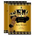 Royal Prince Baby Shower Black Gold Ethnic Invitations