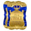 Royal Prince Baby Shower Blue Gold Bow Boy Invitation
