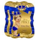 Royal Prince Baby Shower Blue Gold Bow Brunette Invitation