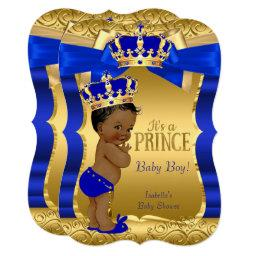 Royal Prince Baby Shower Blue Gold Bow Ethnic