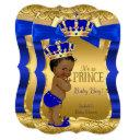 Royal Prince Baby Shower Blue Gold Bow Ethnic Invitation