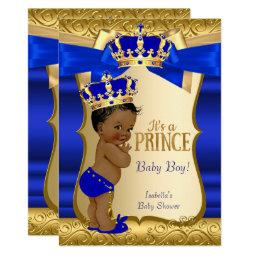 Royal Prince Baby Shower Blue Gold Damask Ethnic Invitations