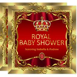 Royal Prince or Princess Baby Shower Red Gold