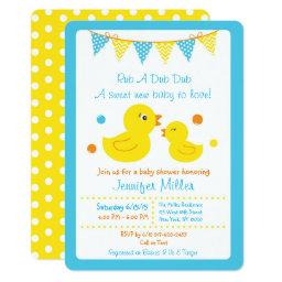 Rubber Duck Baby Shower Die Cut Invitation