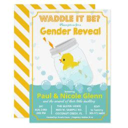 Rubber Duck Gender Reveal Party Invitation