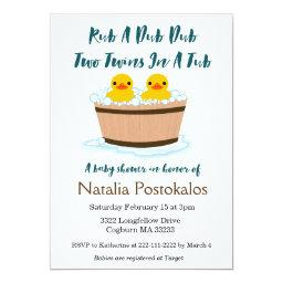 Rubber Ducks Swimming In A Tub Twins Baby Shower Invitations