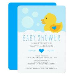 Rubber Ducky Blue Boy Baby Shower Invitation