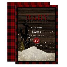 Rustic Baby Shower Buffalo Plaid Deer Snow Modern Invitations