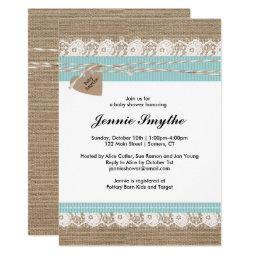 Rustic  Invitation, Burlap & Lace Blue