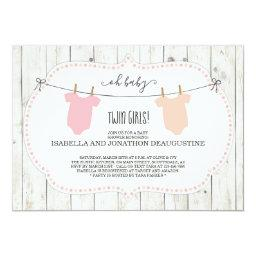 Rustic Baby Shower Invitations For Twin Girls