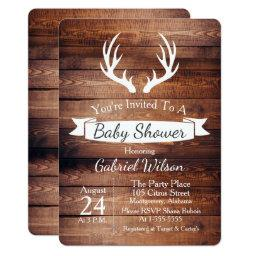 Rustic Barn Wood Antlers White Ribbon Baby Shower Invitations