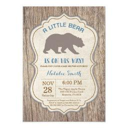 Rustic Bear Baby Shower Invitations Boy