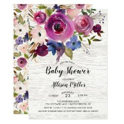 Rustic Blue Plum Floral Baby Shower Invitation