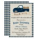 Rustic Blue Truck Baby Shower Invitation