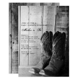 Rustic Boots Country Western Baby Shower Invite