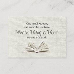 Rustic Bring a Book Baby Shower Insert