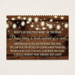 Rustic Bring a Book , Baby Shower Insert