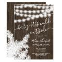 Rustic Brown Wood Pine String Lights Baby Shower Invitation