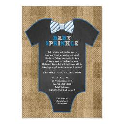 Rustic Burlap Bow Tie Shirt Boy Baby Sprinkle Invitation
