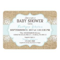 Rustic Burlap Modern Lace Blue Boy Baby Shower
