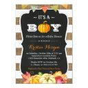Rustic Burlap Pumpkin It's A Boy Fall Baby Shower Invitations