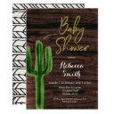Rustic Cactus Greenery Baby Shower Invitation
