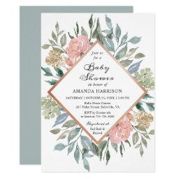 Rustic Chic Dusty Pink Blue Floral Baby Shower Invitations