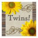 Rustic Country Sunflower Wood Twin Baby Shower Invitation