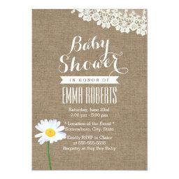 Rustic Daisy & Lace Burlap Baby Shower