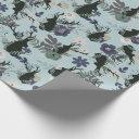 Rustic Deer Head Blue Floral Modern Baby Shower Wrapping Paper