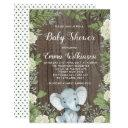 Rustic Elephant Baby Shower Invitations Botanical