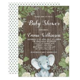 Rustic Elephant Baby Shower  Botanical
