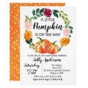 Rustic Floral Wreath Little Pumpkin Baby Shower Invitation