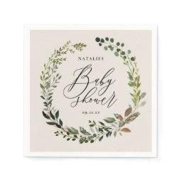 Rustic Foliage Wreath Baby Shower Party Napkin