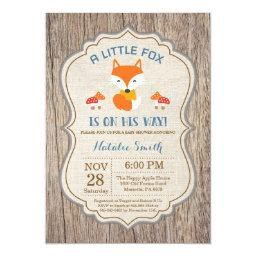 Rustic Fox Baby Shower Invitation Boy