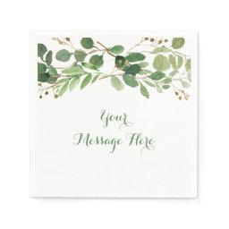Rustic Green Floral Baby Shower Paper Napkin